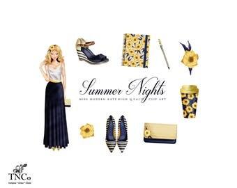 Fashion girl clipart - Summer Nights - Flower clipart - Shoe Clip art - Travel mug - Commercial use Clipart - Purse Clip art - MK - TNCo
