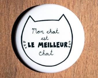 """Mon chat est le meilleur chat macaron (2.5"""" de diamètre), macaron chat, cadeau chat, badge chat, badge animaux, cat lady, amoureux chat"""