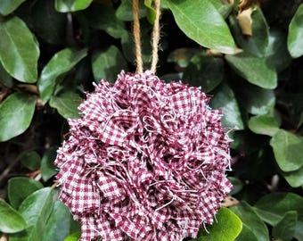 Rag Ball Christmas Ornament Primitive Rustic Country Plaid