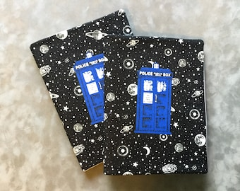 Doctor Who Police Box TARDIS Glow in the Dark Space  Quilted Refillable Journal Notebook