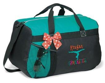 Personalized Black & Turquoise Duffel Bag w/Bow Dance Gymnastics Tap Jazz Cheer