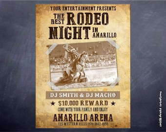 Rodeo PBR Cowboy Night Fairgrounds Arena Flyer Digital Printable!