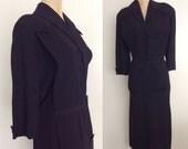 1940's Black Pintucked Crepe Dress w/ Shoulder Pads Plus Size 2XL 3XL XXL by Maeberry Vintage