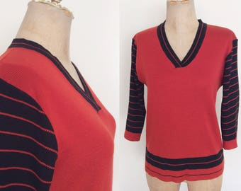1970's Black & Rust Colored Sweater striped Sleeves Size Medium Large by Maeberry Vintage