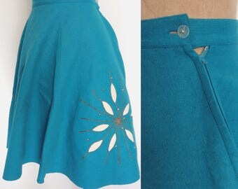 1950's Turquoise Felted Wool Snowflake Full Skirt Teen Youth Petite Size XXS XS by Maeberry Vintage