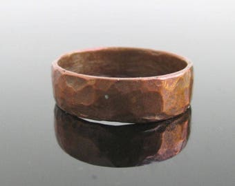 Hand Hammered Copper Band Ring - Vintage Handmade, Size 7 to 7 1/4