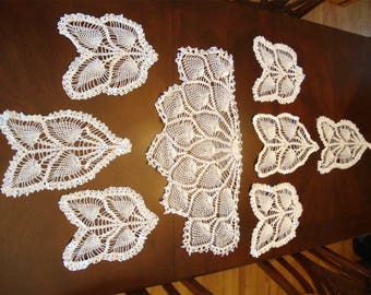 8 Vintage Hand Crocheted Doilies Pineapple Design Pieces For Crafts or Decor