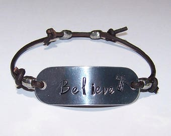 Believe Distressed Brown Leather Cord Bracelet or Personalize - Your Choice of Words, Hand Stamped, Metal Stamped, Adjustable, Phrase