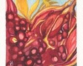 Mini Watercolor Painting Abstract Surreal Pomegranate - Maroon