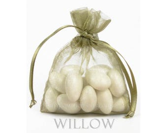 10  Willow Organza Bags, 5 x 8 Inch Sheer Fabric Favor Bags
