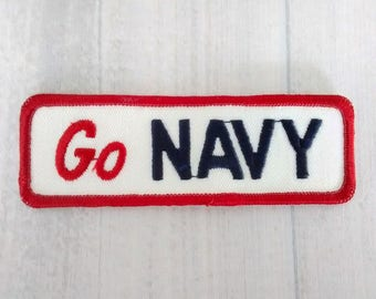 "Vintage 4.6"" Sew On Go Navy Patch, US Navy Applique, United States Military Souvenir, Sailor Gift, Navy Memorabilia"