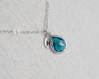 Blue Zircon Teardrop Glass Initial Necklace, December Birthstone Personalized Initial Necklace, Mother Grandmother Monogram Initial Necklace