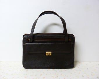 Real Leather 1960's-70's Mod Purse Handbag Leather Mod