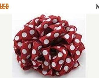 ON SALE 2.5 Inch Burgundy White Dot Ribbon 224085-277, Wired Ribbon, College Wreath Ribbon