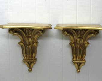 Vintage Pair Italian Florentine Wood Wall Shelfs Gold Tone Sconce Made In ITALY