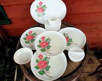 Royalon Melmac. Melmac Dishes. Rose Decor. 16 pc. Set. 1950s Kitchen Decor. Dinnerware. Camper Dishes. Royalon. Melamine. Dishes
