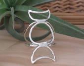 Goddess Ring, Moonphase Ring, Triple Goddess Ring, Triple Moon Ring, Crescent Moon Ring, Sterling Moon Ring, Sterling Silver Ring, Gift