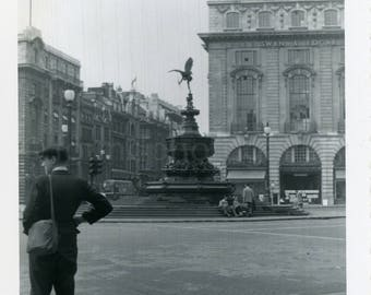 Vintage Photo, Man Standing in Picadilly Circus, London England,Photograph, Snapshot, Old Photo, Black & White Photo, Travel Photo