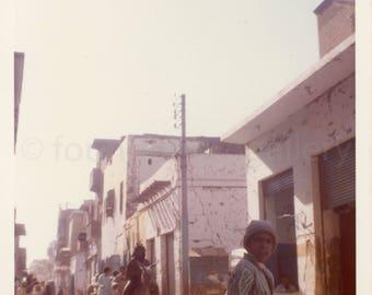 Vintage Photo, Egyptian on Donkey, Peopl on Street in Esna Egypt, Luxor Region, Snapshot, Old Photo, Color Photo, Travel Photo, Landscape