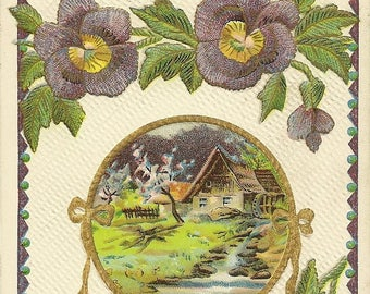 Violet Pansies and Country Mill on Elegant Embossed Antique Birthday Postcard