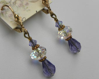 Purple Short Dangle Crystal Earrings, Tanzanite Purple Crystal Earrings, Little Purple Dangle Earrings, Sterling Silver, Bridal Earrings
