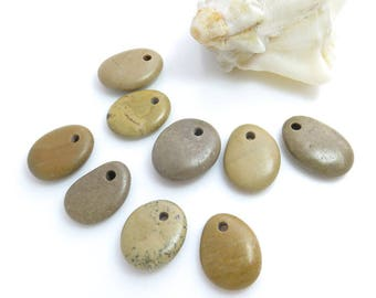 Beautiful Beads for DIY, Jewelry Supplies, Top Drilled Beach Stones 9 pcs, Rare Colors DIY- Mobile- Crafts Beads