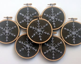 Snowflake Ornaments by mlmxoxo.  Pair of silver snowflakes on pine green linen.  hand embroidery. Christmas.  winter holiday.  Free Shipping