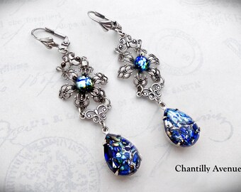 Blue Opal Victorian Earrings, Drop Earrings, Pacific Blue Opal Vintage Glass Jewel Earrings, Victorian Jewelry
