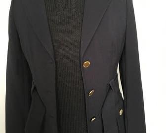 Vintage 1980's Authentic Calvin Klein Designer Jacket Navy Blue Size 2