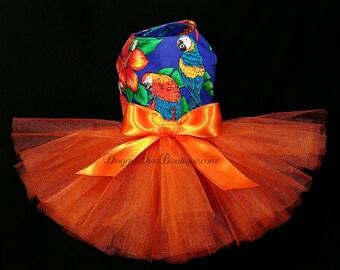 Dog Dress - Dog Tutu Dress - Macaw Parrot - Parrots - XXS, XS, Small or Medium