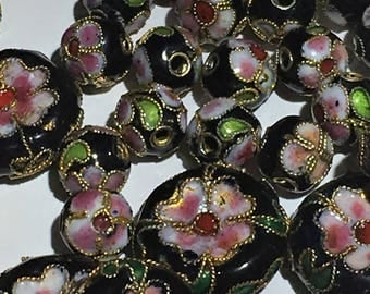 Beautiful Black Cloisonne Beads