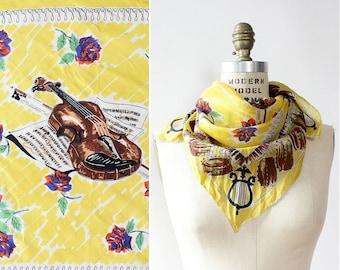 50s Scarf • Vintage Silk Scarf • Novelty Print Scarf • Yellow Silk Scarf • Floral Silk Scarf • Silk Scarf Square • Music Scarf | SC311