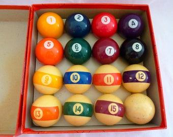 "Vintage Aramith 2 1/4"" Billiard / Pool Balls - Complete Set of 16 Balls - Made in Belgium"