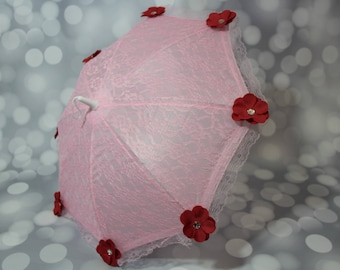 Pink Lace Flower Girl Parasol Sun Umbrella with Red Flowers, Child's Parasol, Young Girls Tea Party Sun Shade, Photo Prop,17071