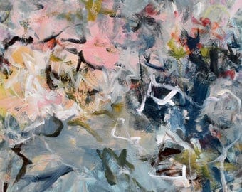 Large Abstract Painting Expressionism Large painting gestural painting  pink aqua indigo gray  To Dream a Dream  24x30