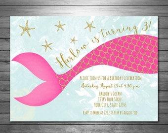 ON SALE Mermaid Birthday Invitation - Printable File - Gold Glitter Invitation - Mermaid Glitter Invitation - Pink Gold Glitter, Mermaid Par