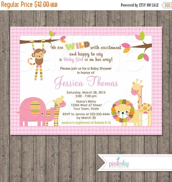 ON SALE Jungle Animals Baby Shower Invitation, Girl, You Print, Pink