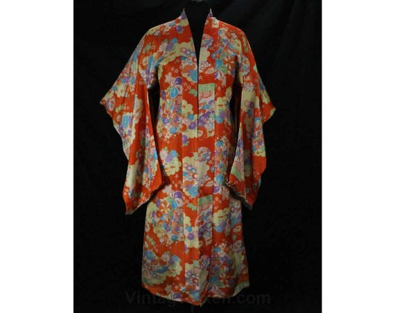 1940s Kimono - Orange Floral Silk with Asian Cherry Blossoms - Rich Colors & Red Lining - Large Japanese Oriental Robe - Bust to 42 - 49028