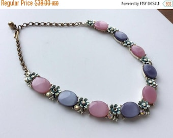 ANNIVERSARY SALE BSK Lavender and Pink Thermoset Necklace with Aurora Borealis Rhinestones