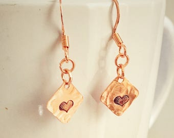 Copper earrings-simple earrings-hand stamped-copper jewelry-heart earrings-handmade-rustic jewelry
