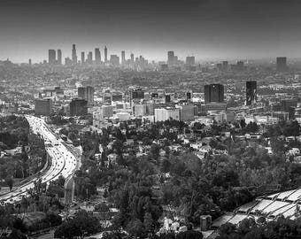 Los Angeles,Large Print,Oversize Canvas,LA,L.A.,Black and White,California,Skyline,Hollywood Bowl,Wall Art,Home Decor,Office Decor,Office