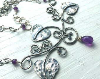 Sterling Silver Leaf Necklace Vine Necklace Amethyst Necklace Statement Necklace A Midsummer Night's Dream