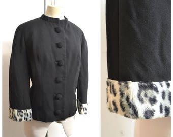 1960s Black wool & leopard print jacket / 60s Dereta semi fitted day jacket - L