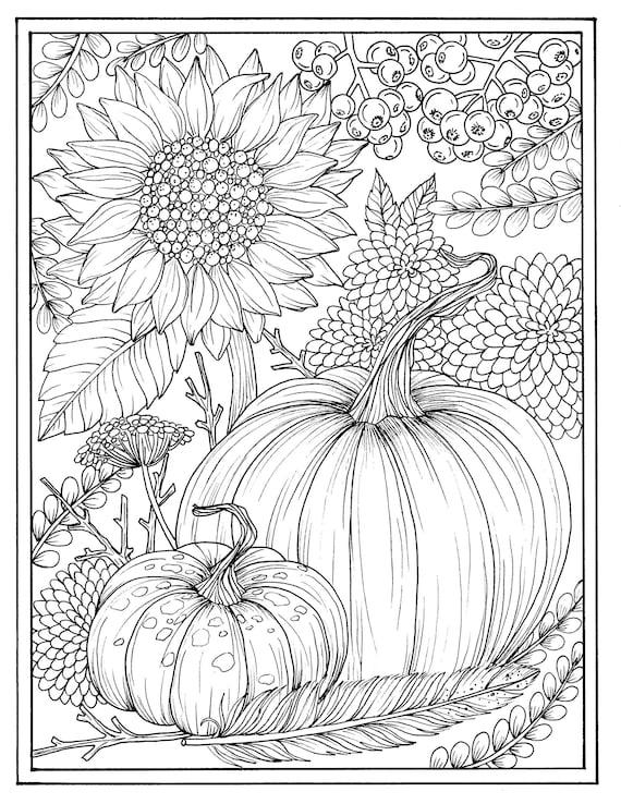 Herbst Blumen und Kürbisse digitale Färbung Seite