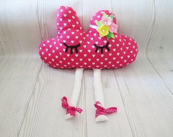 Cloud pillow ,  kids pillow , ballerina , pink pillow , nursery pillow , baby pillow , crib pillow