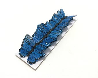 Feather Butterflies -12 Small BLUE Monarch Butterfly Embellishments - 2 Inch Size - Artificial Butterflies, Costume, Hair Accessories, Hat