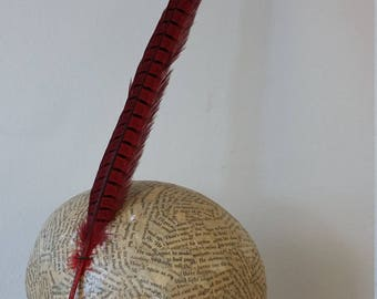 SALE Millinery Feathers - Long Pheasant Feather  - Red