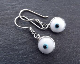 White Evil Eye Dangle Earrings Bohemian Boho Style Light Comfortable Daytime Jewelry Authentic Turkish Style Drop Earring  FREE SHIPPING