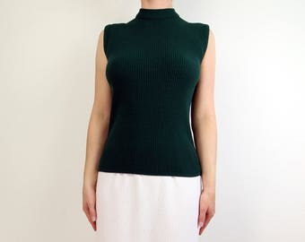 VINTAGE Green Sleeveless Top Ribbed Knit 1960s