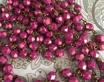 SALE Beaded chain  Handmade USA  pink CYCLAMEN  6mm  European Faceted  glass beads  antique brass wire